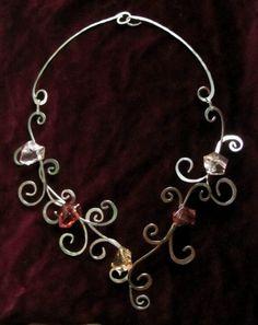 Handmade necklace of plexiglass beads and alpaca