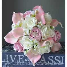 Bridal Bouquets - Pink Calla Lily, Rose & Gypsophila - Choose Rose Colours