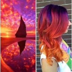 This Galaxy Hair Trend Is Out-Of-This-World ❤ liked on Polyvore featuring hair, hairstyles, backgrounds and filler