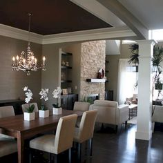 Love the dark ceiling in the dining room. Modern Spaces Candice Olson Bathroom Lighting Design, Pictures, Remodel, Decor and Ideas Dining Room Design, Dining Area, Dining Rooms, Small Dining, Fine Dining, Kitchen Open Concept, Küchen Design, House Design, Design Ideas