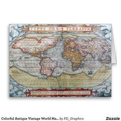 Colorful Antique Vintage World Map Ortelius Greeting Card