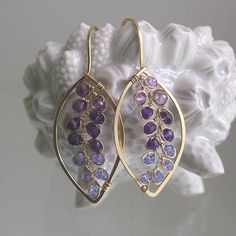 Almond Shaped Purple Gemstone Leaf Hoops with Amethyst and