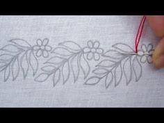 Hand Embroidery, Simple Border Line Embroidery Tutorial, New Border Design - You. Handstickerei, E Hand Embroidery Videos, Hand Embroidery Stitches, Silk Ribbon Embroidery, Crewel Embroidery, Embroidery Kits, Embroidery Tattoo, Machine Embroidery, Embroidery Online, Embroidery Alphabet
