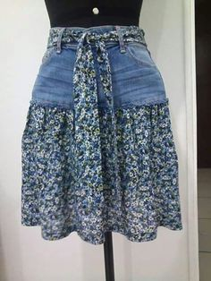 95 DIY Things You Can Make With Old Jeans - diy clothes Recycling Ideen Sewing Jeans, Sewing Clothes, Skirt Sewing, Jeans Refashion, Diy Jeans, Clothes Refashion, Refashioning Clothes, Diy Kleidung, Denim Ideas