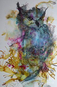 Alcohol Ink Painting - Winston The Wise by Willow Wand