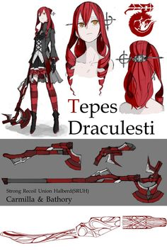 OC: Tepes Draculesti by monorobu on DeviantArt Character Sheet, Game Character, Character Concept, Concept Art, Female Character Design, Character Design References, Character Design Inspiration, Rwby Characters, Fantasy Characters