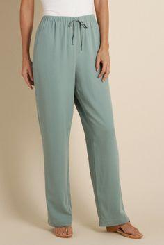 Silk Drawstring Pant - Misses Size Pants, Misses Clothing | Soft Surroundings