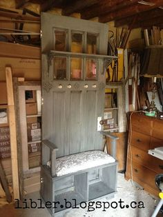 hall tree made out of an old door, doors, painted furniture, repurposing upcycling, rustic furniture