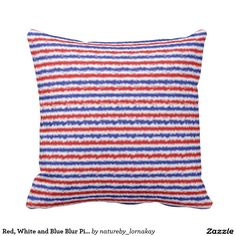 Red, White and Blue Blur Pillow