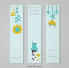 цветочный баннеры дизайн Бесплатные векторы