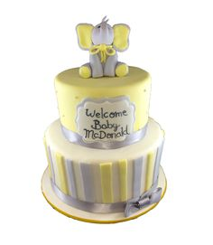 Elephant Welcome Baby custom cake