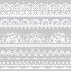 Mehndi, Indian Henna tattoo seamless white pattern on grey background royalty-free stock vector art