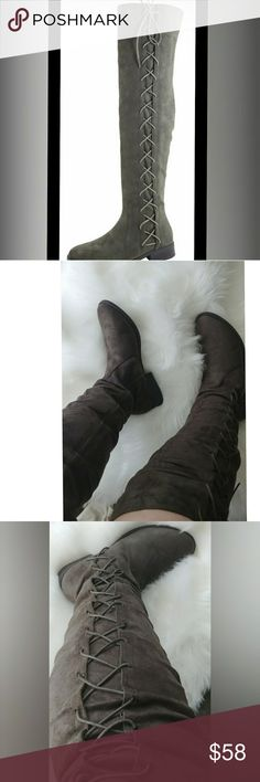 """OLIVE GREEN Swift-2017  Suede Over The Knee Boots Synthetic  Heel 1"""", Platform 0"""" (Measurements may vary slightly)  Fit: True to size.  Synthetic upper & manmade sole  Faux Suede Nubuck  Please note the fit and the color may vary slightly according to personal references and monitor settings. Bella Marie Shoes Over the Knee Boots"""