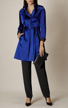 Karen Millen, SATIN MAC COAT Blue