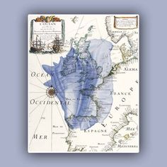 GREAT SITE! Conch Shells on antique map of Europe, Wall art