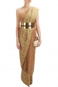 Nude and gold floral thread embroidered saree and blouse set with metal belt