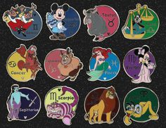 Zodiac Sign Pins, Part of the New Hidden Mickey Pin Series Coming to Disneyland and Walt Disney World Resorts in 2012