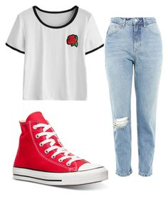 """Untitled #147"" by godsnotdead218 ❤ liked on Polyvore featuring Topshop and Converse"