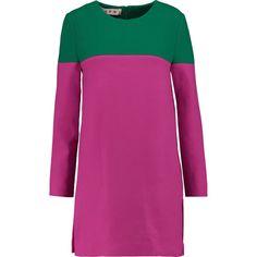 Marni Two-tone stretch wool-blend tunic ($525) ❤ liked on Polyvore featuring tops, tunics, fuchsia, marni top, marni, slit top, loose tops and purple tunic