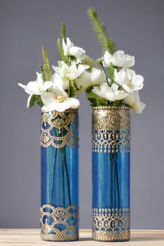Moroccan Vases, Blueberry Tinted Glass with Gold Detailing by LITdecor on Etsy https://www.etsy.com/listing/235795585/moroccan-vases-blueberry-tinted-glass