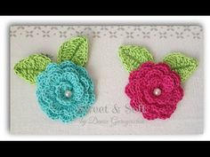 ROSAS A CROCHET - YouTube In Spanish - very easy to follow Rose and leaf