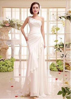 Elegant Chiffon One Shoulder Neckline Natural Waistline Sheath Wedding Dress With Rhinestones