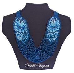 Beaded Necklace. Gerdan. Traditional Ukrainian. Jewelry. Author's work. Petrikivsky painting. Dark Blue