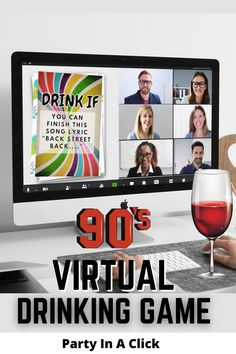 Stuck at home? looking for a fun social distancing party? This virtual 90s themed drinking game will be sure to make you and your group laugh, drink and bring back some fun memories while creating new ones. All you need is a video chat software and a great group of friends looking to have some fun! 90s Themed Party Ideas, Virtual party ideas. Drinking Games, Zoom Party.90s theme party, 90s party ideas, social distancing party