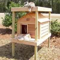outdoor cat houses    Small Cedar Cat House With Platform System and Loft   Good Cat Stuff!