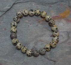 DALMATIAN STONE JASPER  Stretchy elastic bracelet. All natural, undyed and untreated semi-precious gemstones. // Grizzly Meadows Jewelry