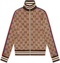5f389570df2b Gucci GG jacquard cotton jacket Leather Sleeve Jacket, Satin Bomber Jacket,  Cotton Jacket,