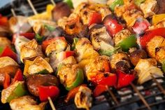 Grilled Asian Ginger Chicken Skewers Recipe – Quick and Easy Freezer Meal Planning Get Your Grill On Honey Chicken Kabobs, Chicken Kabob Recipes, Ginger Chicken, Kebab Recipes, Marinated Chicken, Grilling Recipes, Chicken Kebab, Bbq Chicken, Campfire Recipes