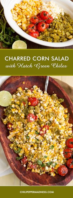 minus the cheese? A bright summer corn salad made with charred corn, blistered cherry tomatoes, Hatch green chiles direct from New Mexico, and crumbled cotija cheese. It's time to fire up the grill! Hatch Green Chili Recipe, Green Chili Recipes, Mexican Food Recipes, Hatch Chili, Hatch Chile Recipe, Sweets Recipes, Side Dish Recipes, Vegetable Recipes, Side Dishes