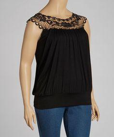 2569a14e42a Simply Irresistible Black Crochet Blouson Top - Plus