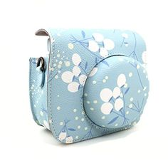 CLOVER Flower Pattern Camera Case Bag With Shoulder Strap  Pocket For Fujifilm Instax Mini 8 Instant Camera >>> Learn more by visiting the image link.