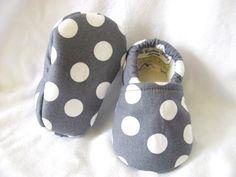 Grey Polka Dot Baby Girl Shoes, girl baby booties