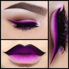 "Purple Liner & Joker Lips  Lips - NYX Black Gel Liner, MAC ""Phlox Garden"" Fluidline, ""Heroine"" Lipstick, & ""Magenta"" Lip Liner. Eyes - MAC ""Phlox Garden"" Fluidline, ""Blanc Type"" & ""Seedy Pearl"" Eyeshadows. Inglot Gel Liners in #74 & 73. NYX Matte Eyesh"