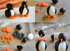Creative food presentation with carrots, black olives & cheese