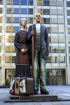 """J. Seward Johnson, part of """"American Icons"""" collection, Chicago."""