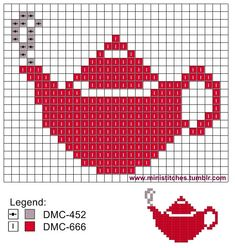 I was going to buy myself a new teapot, but the price was too steep. (Request from gcsilmoldor) Tiny Cross Stitch, Cross Stitch Kitchen, Cross Stitch Cards, Cross Stitching, Cross Stitch Embroidery, Modern Cross Stitch Patterns, Cross Stitch Designs, Beading Patterns, Embroidery Patterns