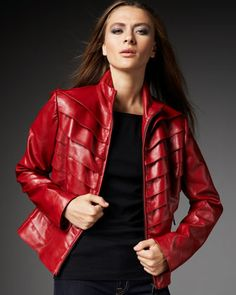 Tiered+Leather+Jacket+by+Neiman+Marcus+at+Neiman+Marcus.