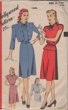 f7edf90252f Hollywood 1546 1940s Misses Dress and Scalloped Bolero Pattern Womens  Vintage Sewing Pattern Size 12 Bust 30