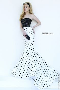 41adf93cd45 Sherri HIll - Rows of squared black beading create the perfect strapless  canvas for this impressive black and white polka dot mermaid cut skirt.
