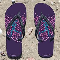 Running Birds on Purple Flip Flops - Kick back after a run with these great flip flops! Fun and functional flip flops for all runners.