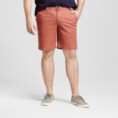 Men's Big & Tall Belted Flat Front Chino Shorts Red 44 - Mossimo Supply Co.