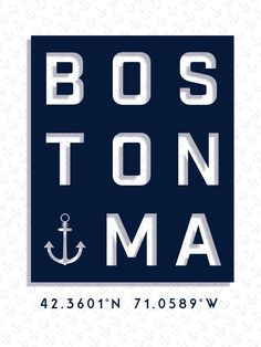 Boston Typography Print, Boston Poster, Boston Art, Massachusetts Wall Art, Nautical Decor, Beachhouse Print, Typography Print, City Poster, Beach Art, Beach House Print, Nautical Ideas, Nautical Bathroom, Boston Vintage Travel