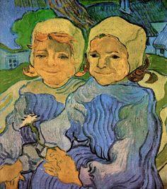 "Van Gogh ""Two Girls, smiling"", oil on canvas, 51.5 x 46.5 cm, June, 1890. Collection Joseph Albritton, Washington, D.C., USA."