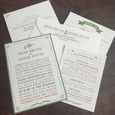 Casual and Fun Wedding Invitation Suite // Simple Custom wedding invitation with RSVP card.  Add ons include thank you cards, rehearsal dinner invitations, menus, place cards, table numbers, and programs.  Invitations can be customized with envelope addressing, envelope liners, burlap, twine, and bellybands.