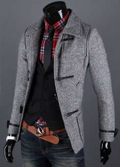 Mens Stylish Double Breasted Trench Coats Long Jackets Top ...
