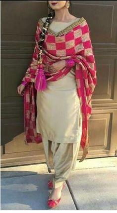 Wear Indian Punjabi Suits - Latest Fashion Of Punjabi Suits In India Salwar Designs, Patiala Suit Designs, Kurti Designs Party Wear, Punjabi Suit Neck Designs, Punjabi Fashion, Indian Fashion Dresses, Dress Indian Style, Phulkari Punjabi Suits, Patiala Salwar Suits